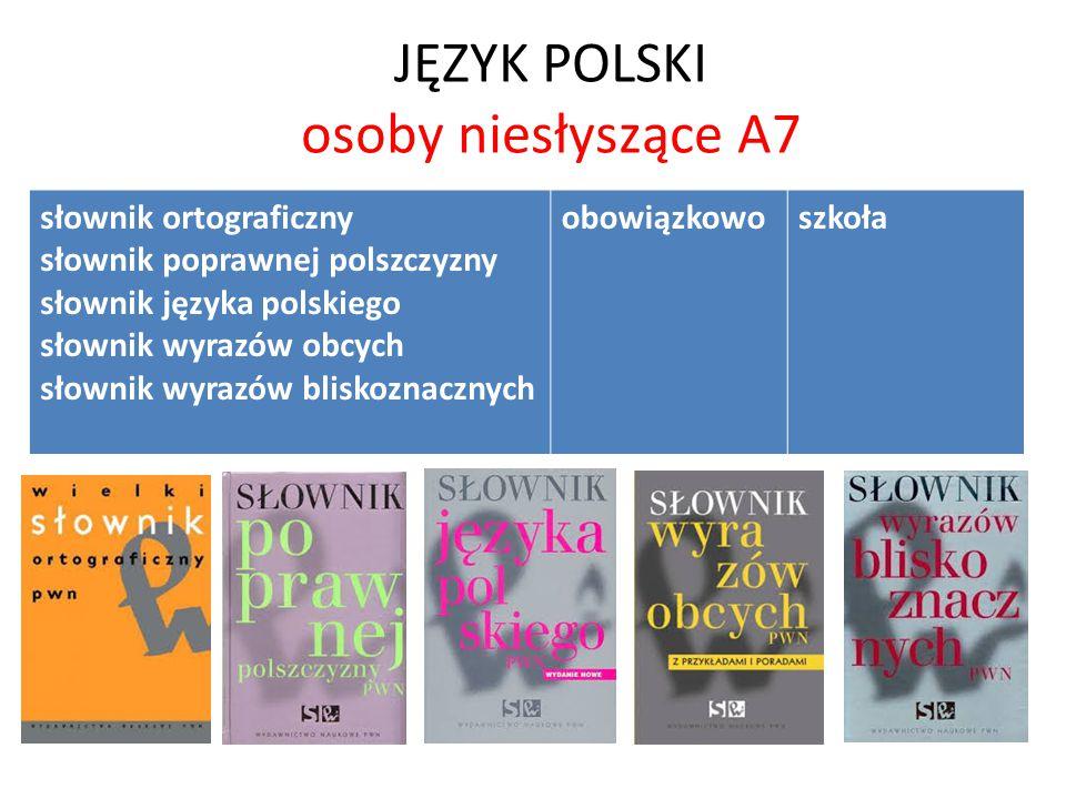 JĘZYK POLSKI osoby niesłyszące A7 słownik ortograficzny słownik poprawnej polszczyzny słownik języka polskiego słownik wyrazów obcych słownik wyrazów