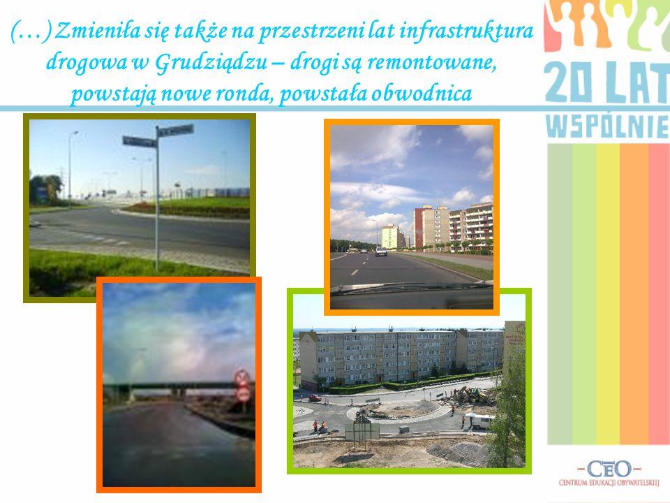 (…) Zmieniła się także na przestrzeni lat infrastruktura drogowa w Grudziądzu – drogi są remontowane, powstają nowe ronda, powstała obwodnica