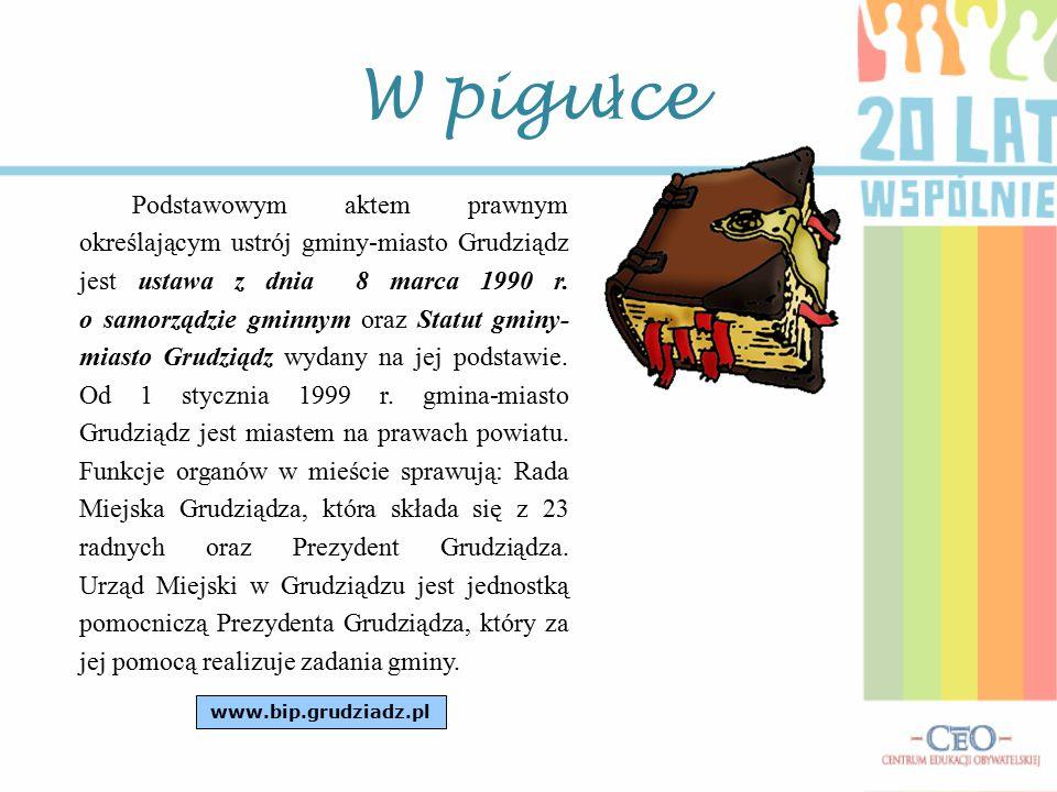 W pigu ł ce Podstawowym aktem prawnym określającym ustrój gminy-miasto Grudziądz jest ustawa z dnia 8 marca 1990 r.