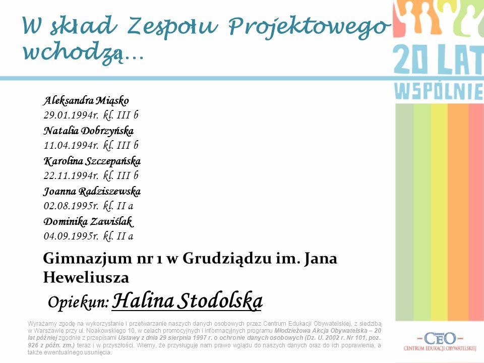 W sk ł ad Zespo ł u Projektowego wchodz ą … Aleksandra Miąsko 29.01.1994r.