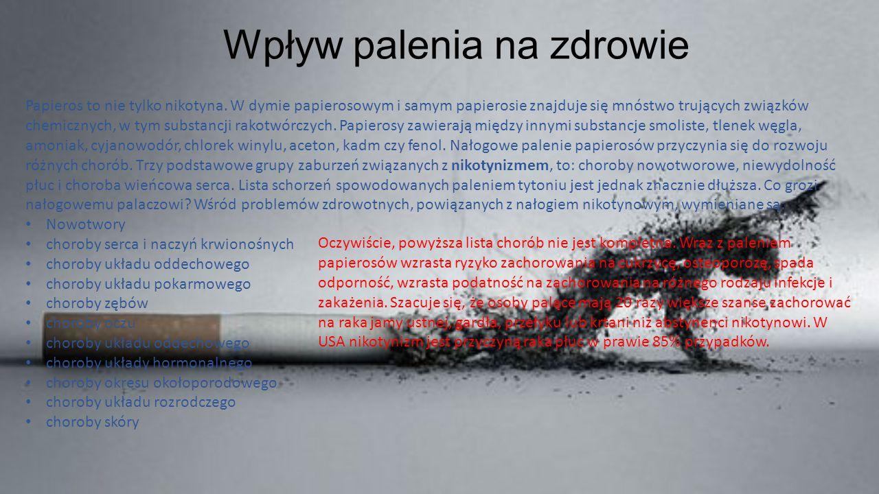 Wpływ palenia na zdrowie Papieros to nie tylko nikotyna. W dymie papierosowym i samym papierosie znajduje się mnóstwo trujących związków chemicznych,