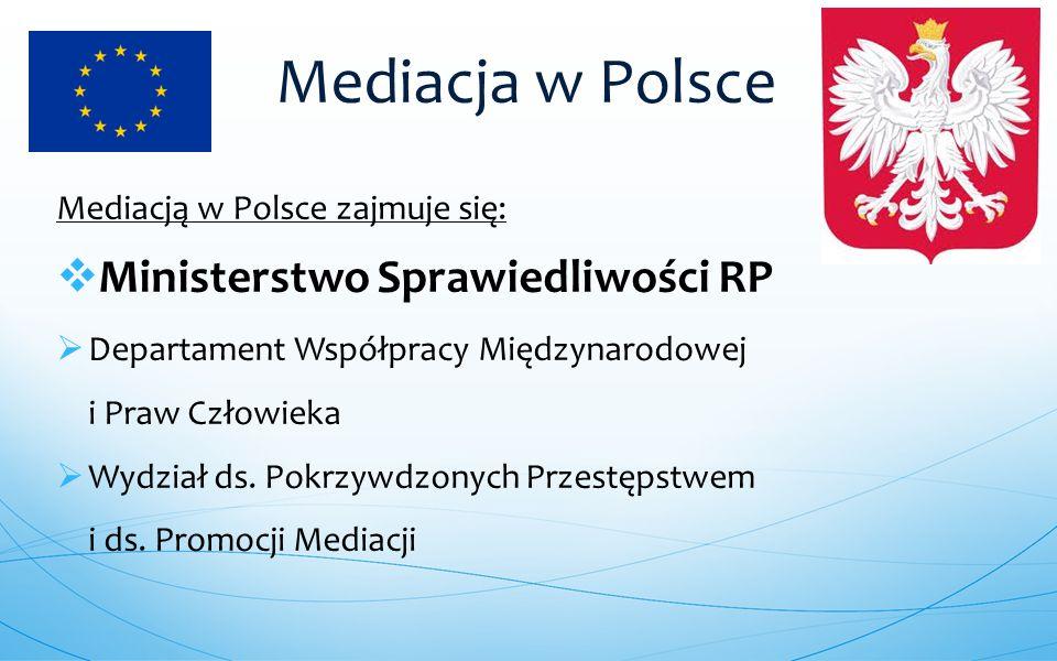 Mediacją w Polsce zajmuje się:  Ministerstwo Sprawiedliwości RP  Departament Współpracy Międzynarodowej i Praw Człowieka  Wydział ds. Pokrzywdzonyc