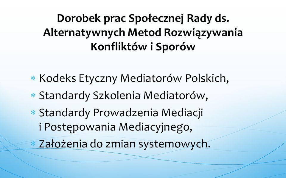  Kodeks Etyczny Mediatorów Polskich,  Standardy Szkolenia Mediatorów,  Standardy Prowadzenia Mediacji i Postępowania Mediacyjnego,  Założenia do z