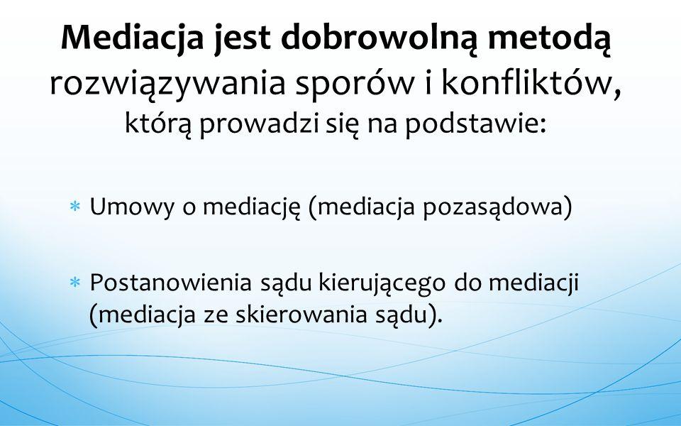  Umowy o mediację (mediacja pozasądowa)  Postanowienia sądu kierującego do mediacji (mediacja ze skierowania sądu). Mediacja jest dobrowolną metodą