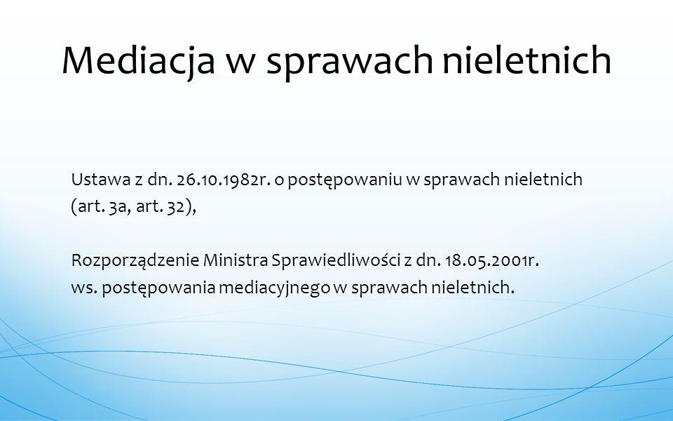 Ustawa z dn. 26.10.1982r. o postępowaniu w sprawach nieletnich (art. 3a, art. 32), Rozporządzenie Ministra Sprawiedliwości z dn. 18.05.2001r. ws. post