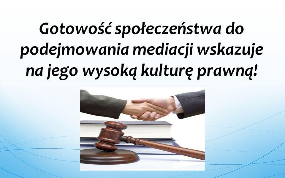 Gotowość społeczeństwa do podejmowania mediacji wskazuje na jego wysoką kulturę prawną!