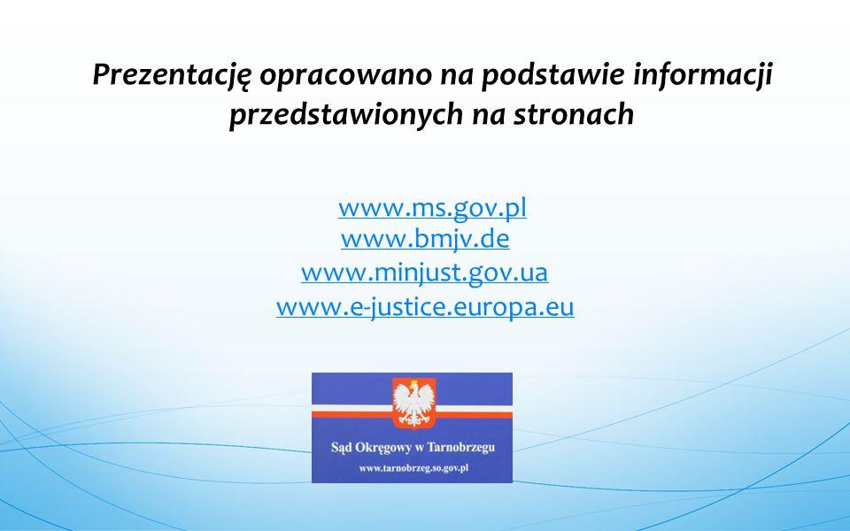 www.bmjv.de www.minjust.gov.ua www.e-justice.europa.eu Prezentację opracowano na podstawie informacji przedstawionych na stronach www.ms.gov.pl www.ms