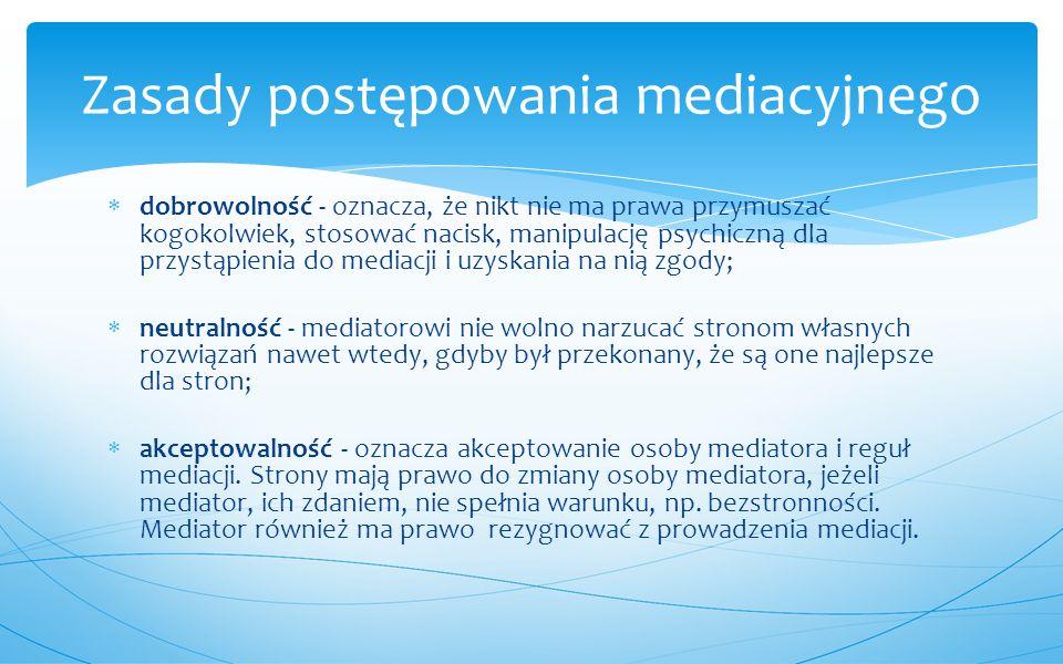  jest dobrowolną, poufną metodą rozwiązywania sporu, w której strony konfliktu lub sporu, z pomocą bezstronnego i neutralnego mediatora, samodzielnie dochodzą do porozumienia;  zastosowanie mediacji jest możliwe we wszystkich sprawach, w których prawo dopuszcza zawarcie ugody;  mediacja przerywa bieg przedawnienia;  przedmiotem mediacji mogą być na przykład sprawy o zapłatę, zniesienie współwłasności, sprawy pracownicze, rozwiązanie lub niewykonanie umowy, podział majątku dorobkowego, dział spadku oraz sprawy dotyczące sporów sąsiedzkich.