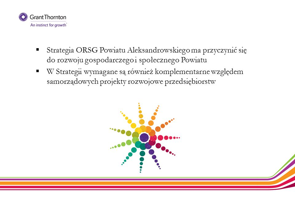  Strategia ORSG Powiatu Aleksandrowskiego ma przyczynić się do rozwoju gospodarczego i społecznego Powiatu  W Strategii wymagane są również kompleme