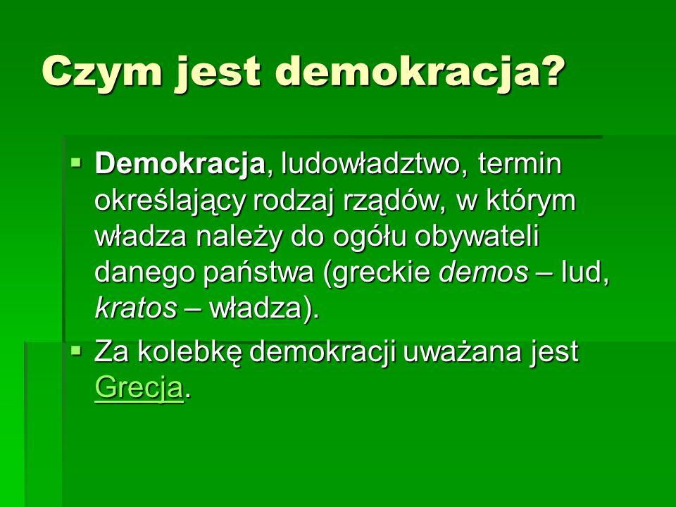 Czym jest demokracja?  Demokracja, ludowładztwo, termin określający rodzaj rządów, w którym władza należy do ogółu obywateli danego państwa (greckie