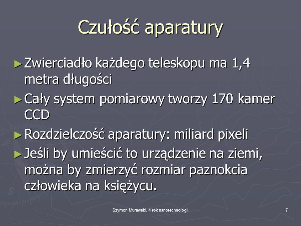 Szymon Murawski, 4 rok nanotechnologii8 Parasol ► Parasol jest rozkładany po dotarciu GAIA na orbitę.