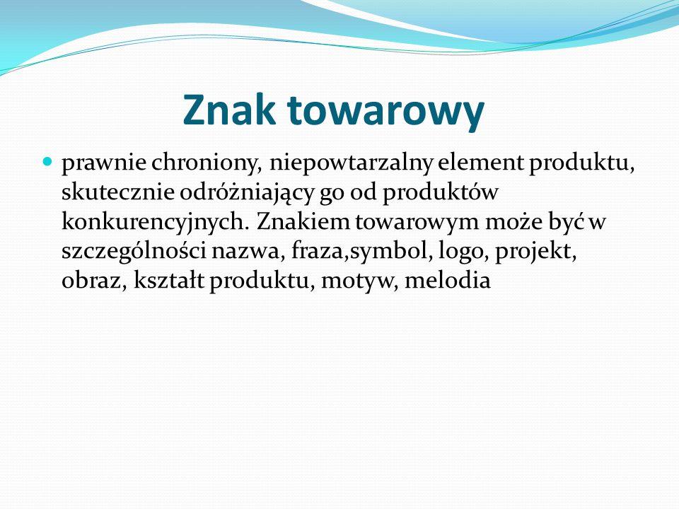Znak towarowy prawnie chroniony, niepowtarzalny element produktu, skutecznie odróżniający go od produktów konkurencyjnych.