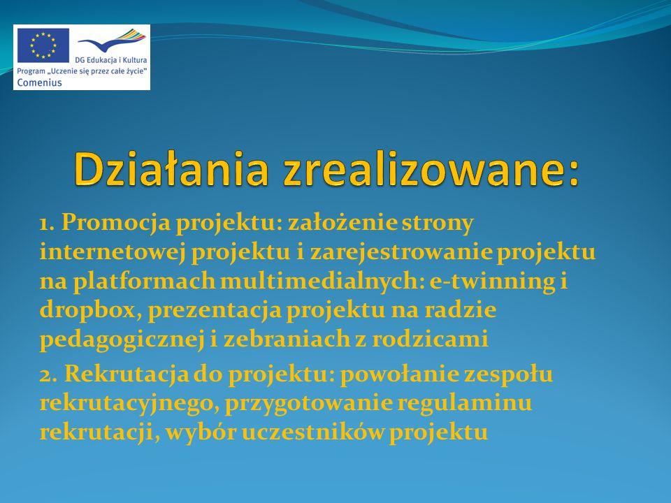 1. Promocja projektu: założenie strony internetowej projektu i zarejestrowanie projektu na platformach multimedialnych: e-twinning i dropbox, prezenta