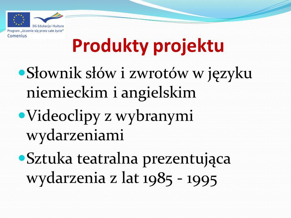 Produkty projektu Słownik słów i zwrotów w języku niemieckim i angielskim Videoclipy z wybranymi wydarzeniami Sztuka teatralna prezentująca wydarzenia z lat 1985 - 1995