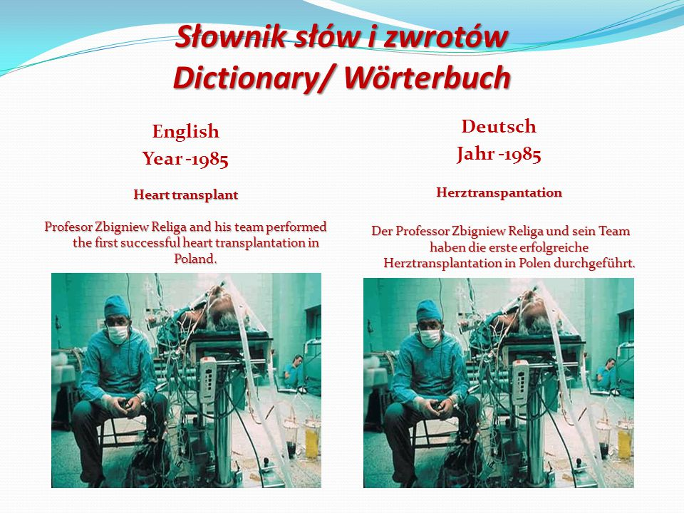 Słownik słów i zwrotów Dictionary/ Wörterbuch English Year -1985 Heart transplant Profesor Zbigniew Religa and his team performed the first successful