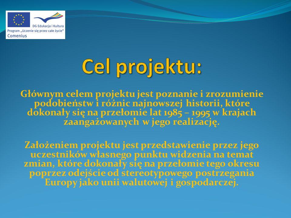 Głównym celem projektu jest poznanie i zrozumienie podobieństw i różnic najnowszej historii, które dokonały się na przełomie lat 1985 – 1995 w krajach zaangażowanych w jego realizację.
