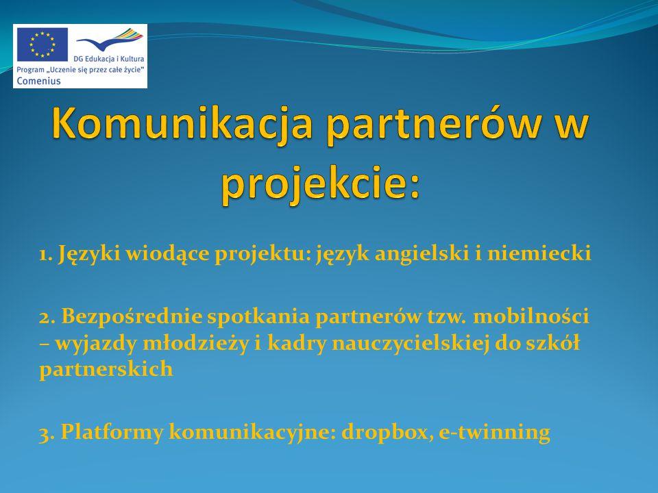 1. Języki wiodące projektu: język angielski i niemiecki 2.