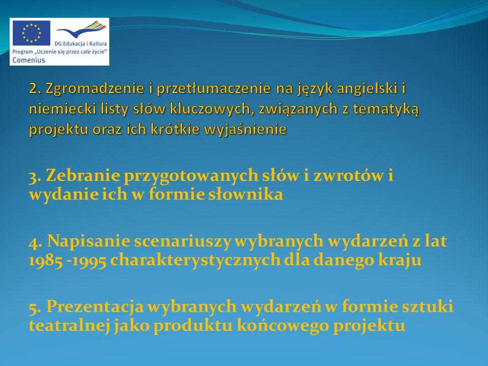 3. Zebranie przygotowanych słów i zwrotów i wydanie ich w formie słownika 4.
