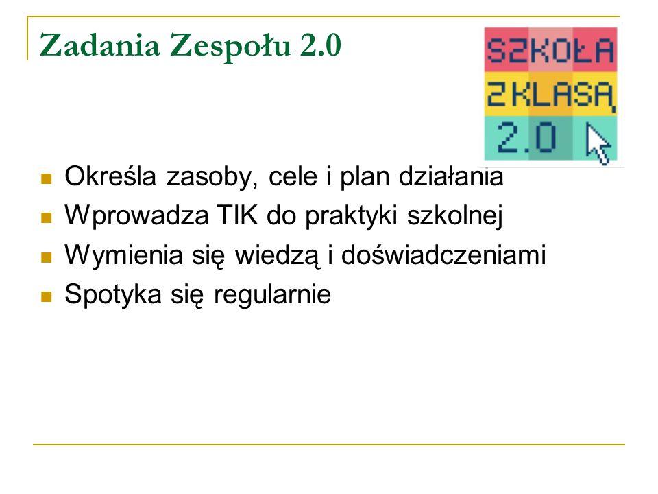 Zadania Zespołu 2.0 Określa zasoby, cele i plan działania Wprowadza TIK do praktyki szkolnej Wymienia się wiedzą i doświadczeniami Spotyka się regularnie