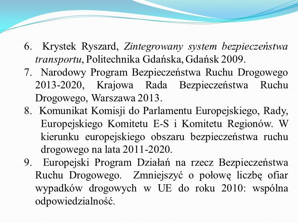 6. Krystek Ryszard, Zintegrowany system bezpieczeństwa transportu, Politechnika Gdańska, Gdańsk 2009. 7. Narodowy Program Bezpieczeństwa Ruchu Drogowe