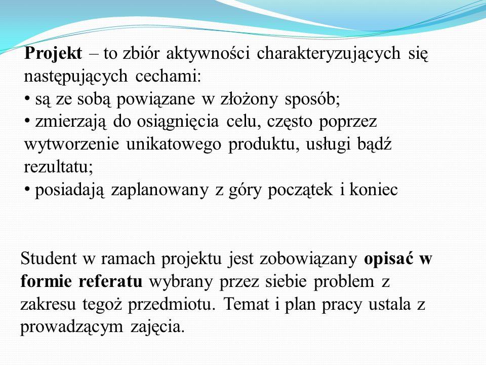 Proces pracy nad projektem: spotkanie I (16.03.15) – metodyka pracy nad danym projektem, zasady prowadzenia konsultacji, zasady oceniania projektu; spotkanie II (20.04.15)– dokonanie weryfikacji oraz zaakceptowanie (lub nie) przedstawionych przez studentów planów merytorycznych projektu, w tym bibliografii; spotkanie III (08.06.15) – przeprowadzenie zaliczenia projektu (prezentacja na forum grupy i obrona pracy);