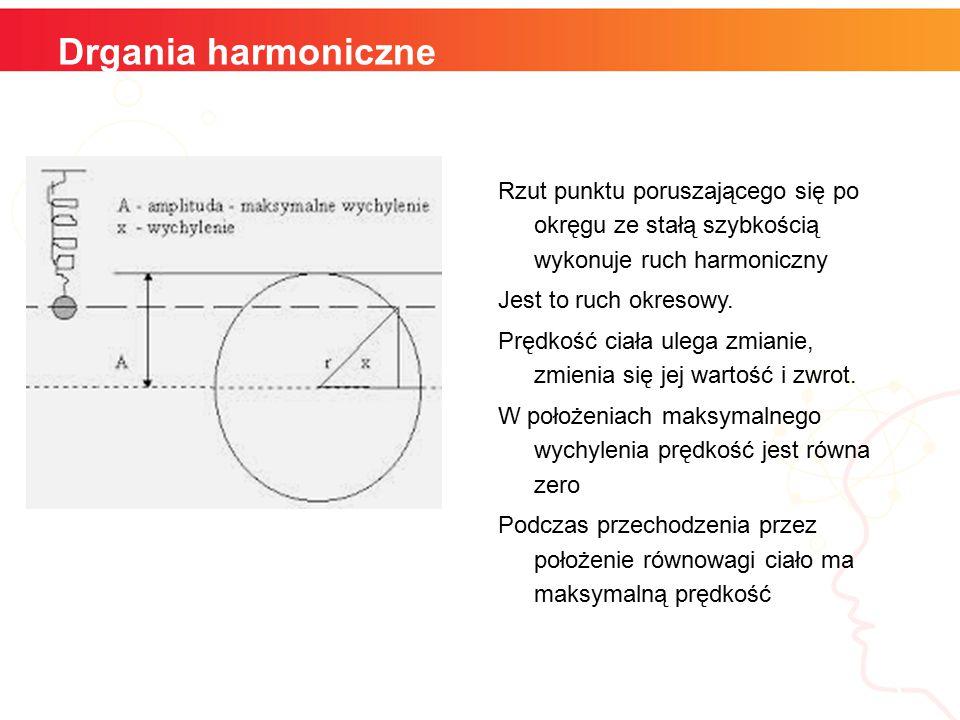Drgania harmoniczne Rzut punktu poruszającego się po okręgu ze stałą szybkością wykonuje ruch harmoniczny Jest to ruch okresowy.