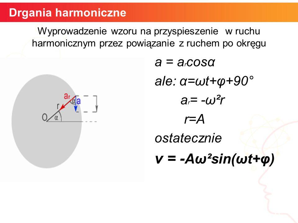 informatyka + 6 Drgania harmoniczne Wyprowadzenie wzoru na przyspieszenie w ruchu harmonicznym przez powiązanie z ruchem po okręgu a = a r cosα ale: α=ωt+φ+90° a r = -ω²r r=A ostatecznie v = - Aω²sin(ωt+φ)