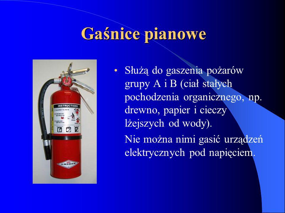Gaśnice pianowe Służą do gaszenia pożarów grupy A i B (ciał stałych pochodzenia organicznego, np.