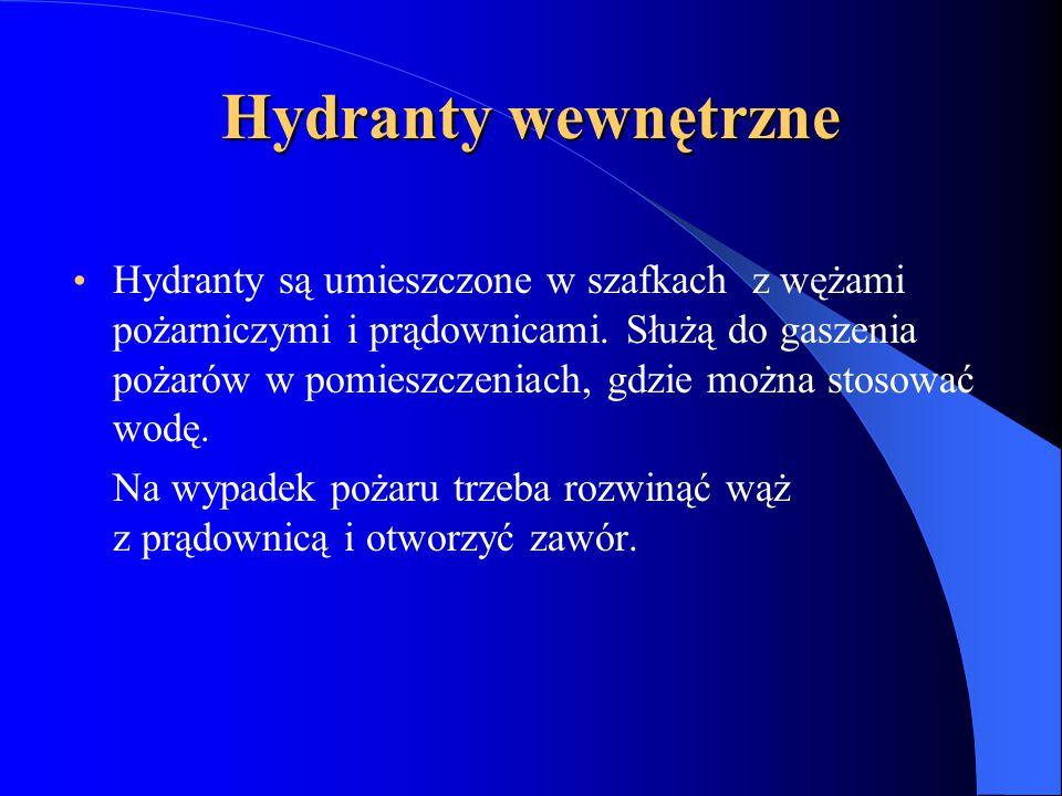 Hydranty wewnętrzne Hydranty są umieszczone w szafkach z wężami pożarniczymi i prądownicami.