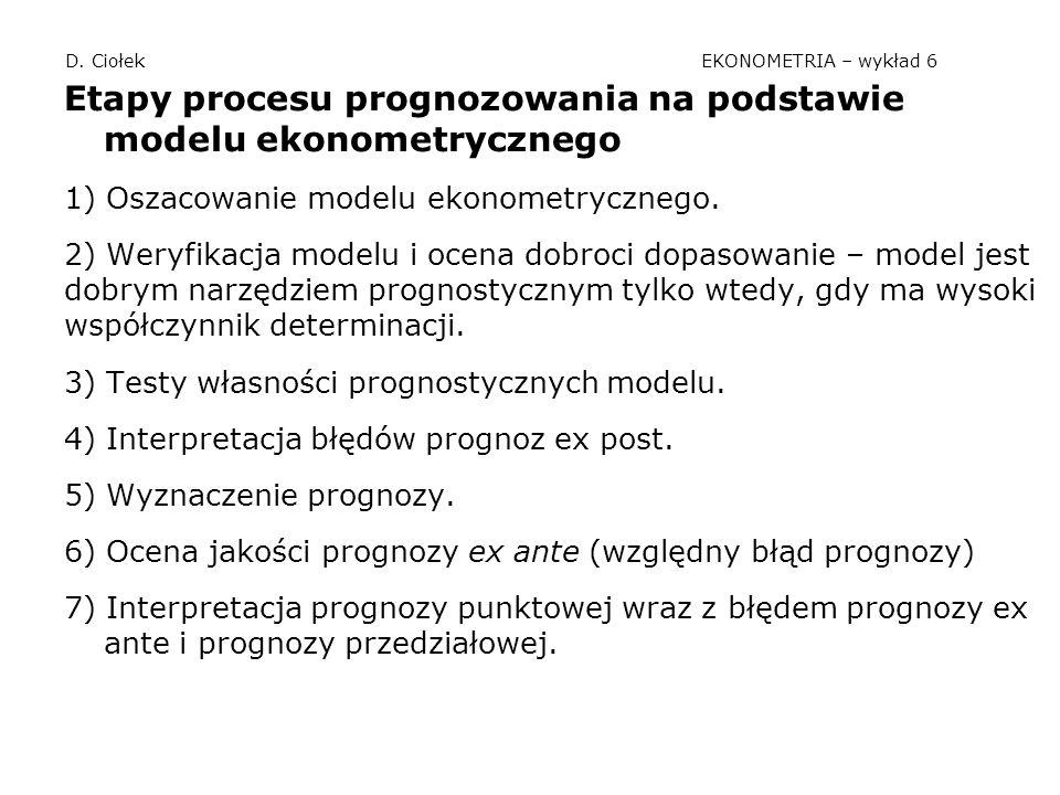 D. Ciołek EKONOMETRIA – wykład 6 Etapy procesu prognozowania na podstawie modelu ekonometrycznego 1) Oszacowanie modelu ekonometrycznego. 2) Weryfikac