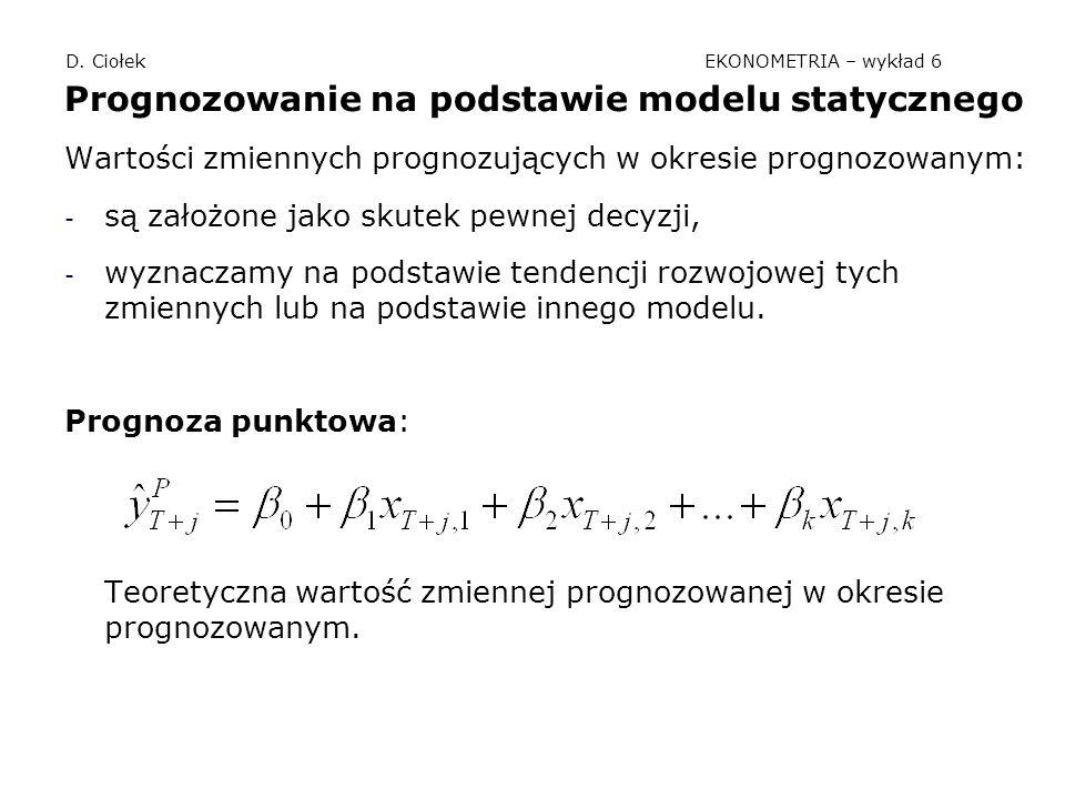 D. Ciołek EKONOMETRIA – wykład 6 Prognozowanie na podstawie modelu statycznego Wartości zmiennych prognozujących w okresie prognozowanym: - są założon