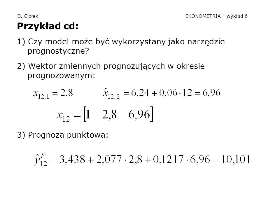 D. Ciołek EKONOMETRIA – wykład 6 Przykład cd: 1) Czy model może być wykorzystany jako narzędzie prognostyczne? 2) Wektor zmiennych prognozujących w ok