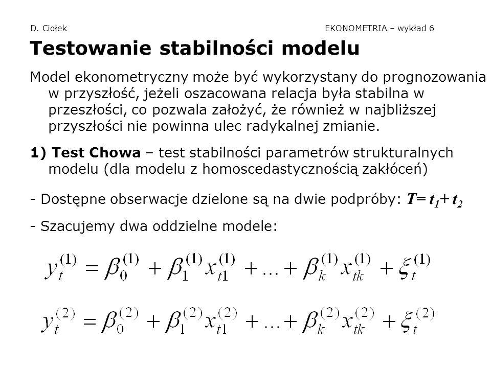 D. Ciołek EKONOMETRIA – wykład 6 Testowanie stabilności modelu Model ekonometryczny może być wykorzystany do prognozowania w przyszłość, jeżeli oszaco