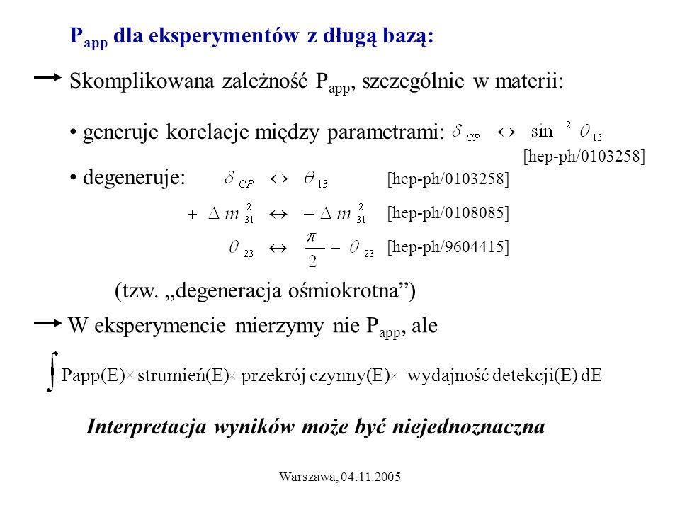 Warszawa, 04.11.2005 Interpretacja wyników może być niejednoznaczna P app dla eksperymentów z długą bazą: generuje korelacje między parametrami: [hep-ph/0103258] degeneruje: [hep-ph/0108085] [hep-ph/9604415] [hep-ph/0103258] (tzw.