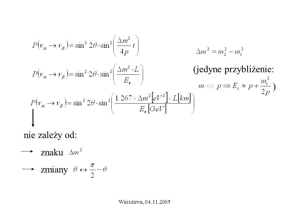 Warszawa, 04.11.2005 nie zależy od: znaku zmiany (jedyne przybliżenie: )