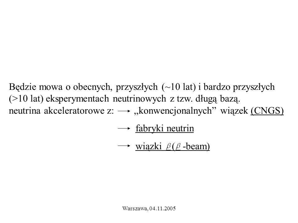 Warszawa, 04.11.2005 Będzie mowa o obecnych, przyszłych (~10 lat) i bardzo przyszłych (>10 lat) eksperymentach neutrinowych z tzw.
