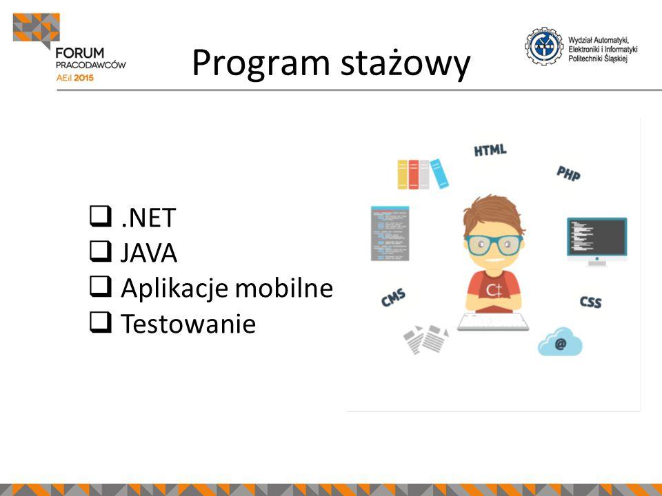 Program stażowy .NET  JAVA  Aplikacje mobilne  Testowanie