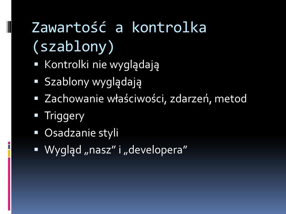 """Zawartość a kontrolka (szablony)  Kontrolki nie wyglądają  Szablony wyglądają  Zachowanie właściwości, zdarzeń, metod  Triggery  Osadzanie styli  Wygląd """"nasz i """"developera"""
