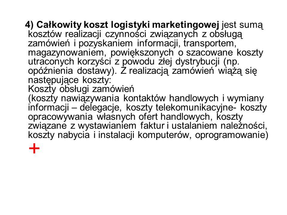4) Całkowity koszt logistyki marketingowej jest sumą kosztów realizacji czynności związanych z obsługą zamówień i pozyskaniem informacji, transportem, magazynowaniem, powiększonych o szacowane koszty utraconych korzyści z powodu złej dystrybucji (np.