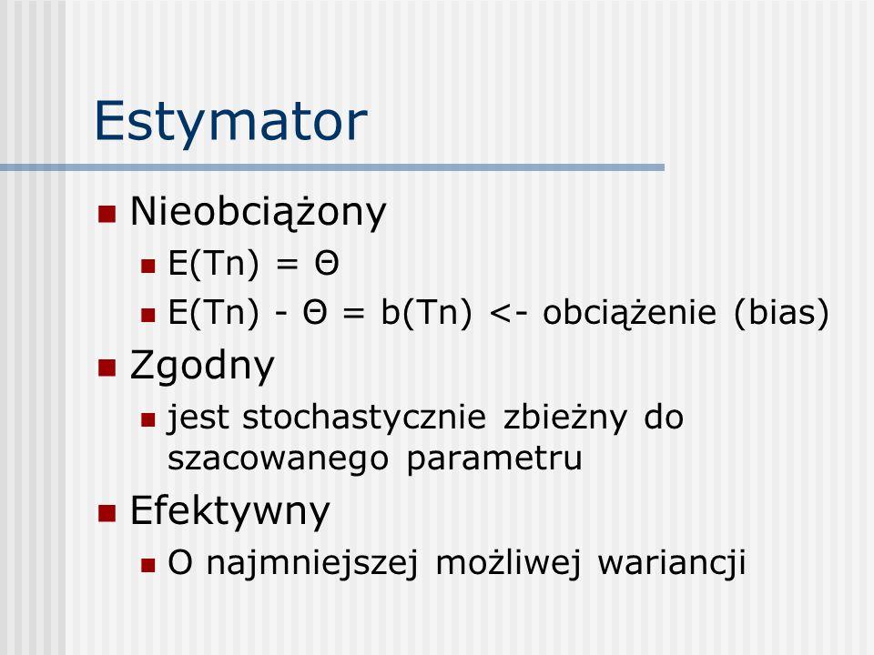 Estymator Nieobciążony E(Tn) = Θ E(Tn) - Θ = b(Tn) <- obciążenie (bias) Zgodny jest stochastycznie zbieżny do szacowanego parametru Efektywny O najmniejszej możliwej wariancji