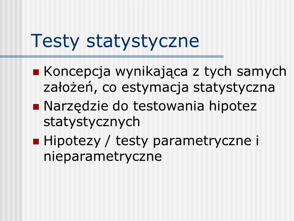 Testy statystyczne Koncepcja wynikająca z tych samych założeń, co estymacja statystyczna Narzędzie do testowania hipotez statystycznych Hipotezy / testy parametryczne i nieparametryczne