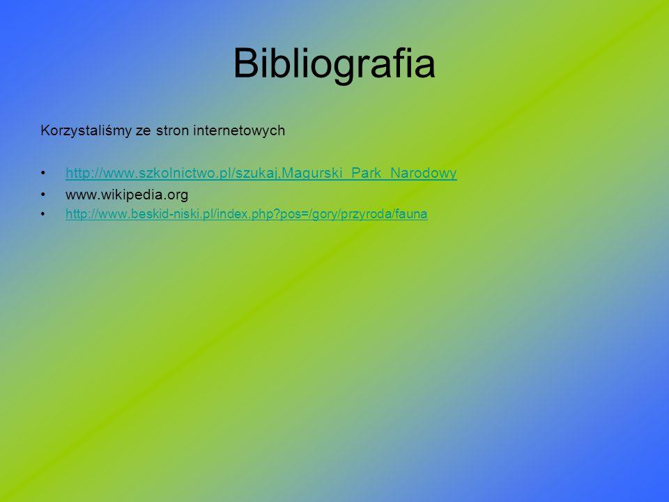 Bibliografia Korzystaliśmy ze stron internetowych http://www.szkolnictwo.pl/szukaj,Magurski_Park_Narodowy www.wikipedia.org http://www.beskid-niski.pl