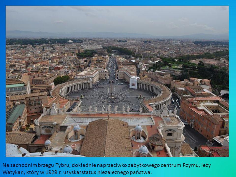 Na zachodnim brzegu Tybru, dokładnie naprzeciwko zabytkowego centrum Rzymu, leży Watykan, który w 1929 r.