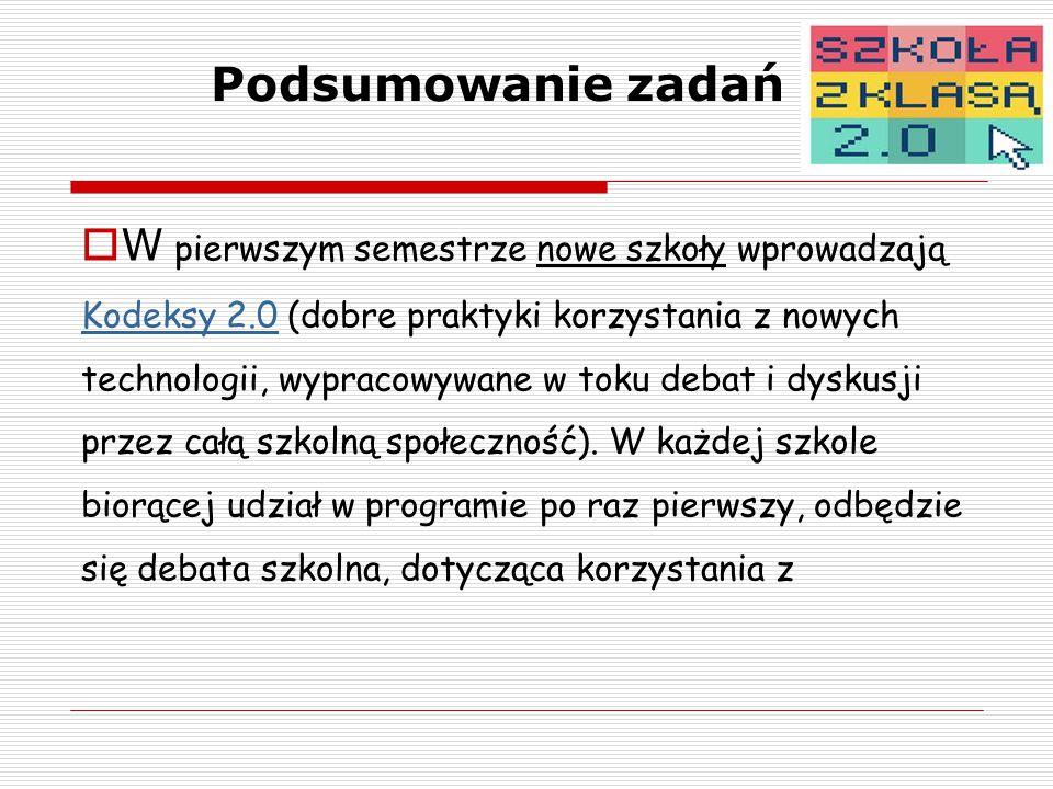 Podsumowanie zadań  W pierwszym semestrze nowe szkoły wprowadzają Kodeksy 2.0 (dobre praktyki korzystania z nowych technologii, wypracowywane w toku debat i dyskusji przez całą szkolną społeczność).