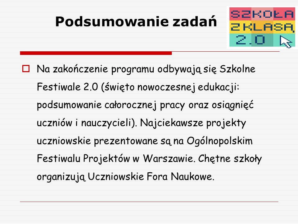 Podsumowanie zadań  Na zakończenie programu odbywają się Szkolne Festiwale 2.0 (święto nowoczesnej edukacji: podsumowanie całorocznej pracy oraz osiągnięć uczniów i nauczycieli).