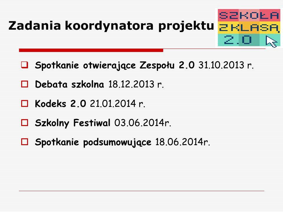 Zadania koordynatora projektu  Spotkanie otwierające Zespołu 2.0 31.10.2013 r.