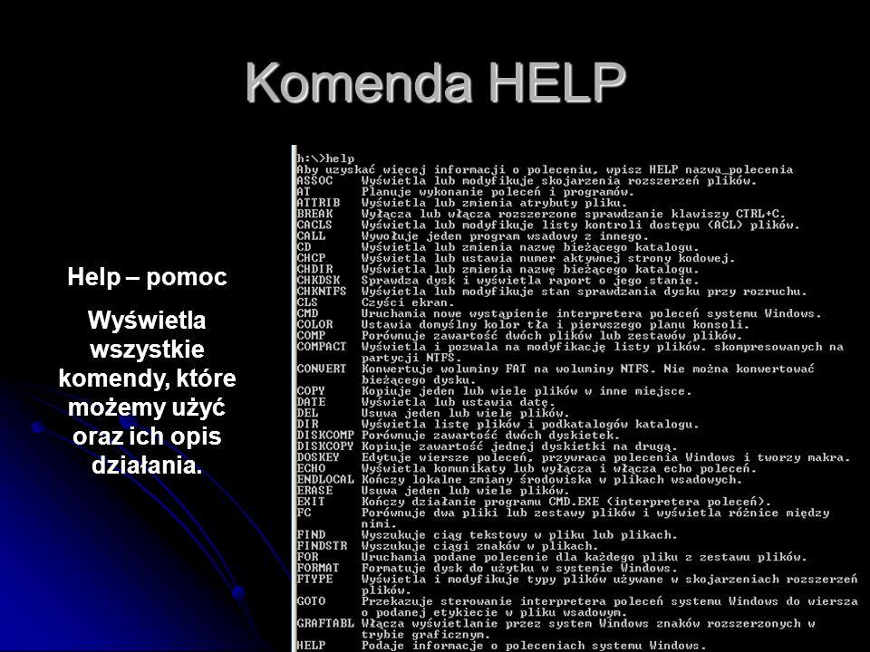Komenda HELP Help – pomoc Wyświetla wszystkie komendy, które możemy użyć oraz ich opis działania.