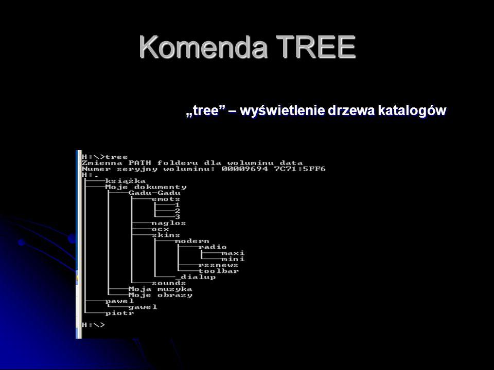 """Komenda TREE """"tree – wyświetlenie drzewa katalogów"""