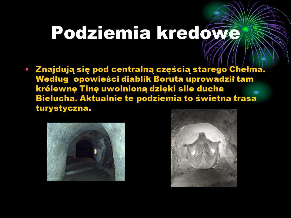 Podziemia kredowe Znajdują się pod centralną częścią starego Chełma. Według opowieści diablik Boruta uprowadził tam królewnę Tinę uwolnioną dzięki sil