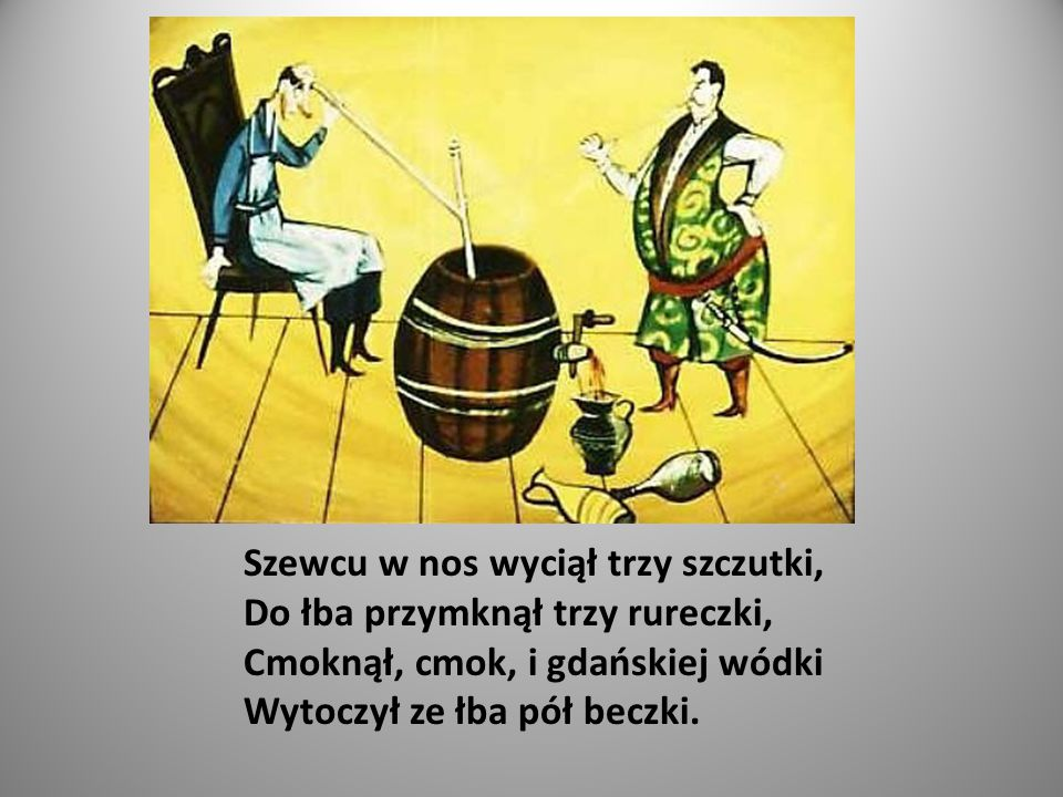 Twardowski dosiadł biegusa, Próbuje podskoków, zwrotów, Stępa, galopuje, kłusa, Patrzy, aż i gmach już gotów.